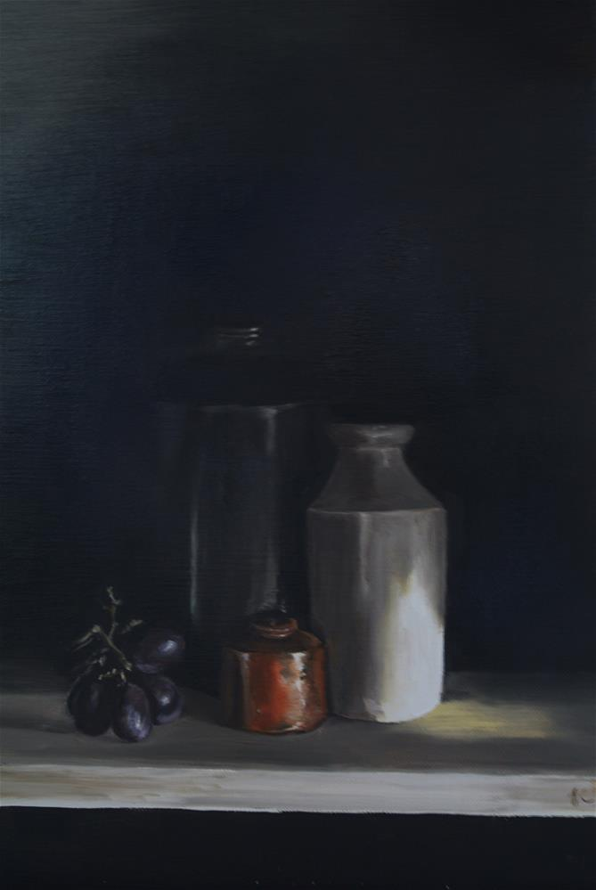 """Old Bottles and Grapes"" original fine art by James Coates"