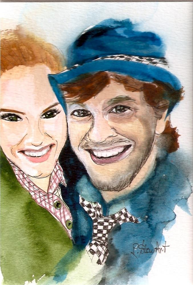 """5x7 A Cute Couple Watercolor and Pen Portrait Loose Style Penny StewArt"" original fine art by Penny Lee StewArt"