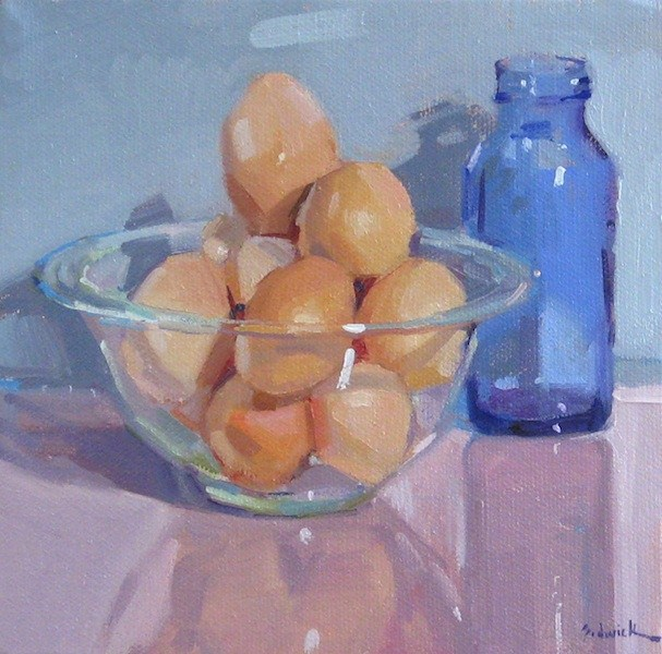 """Fresh Eggs still life food kitchen decor art daily painting brown eggs"" original fine art by Sarah Sedwick"