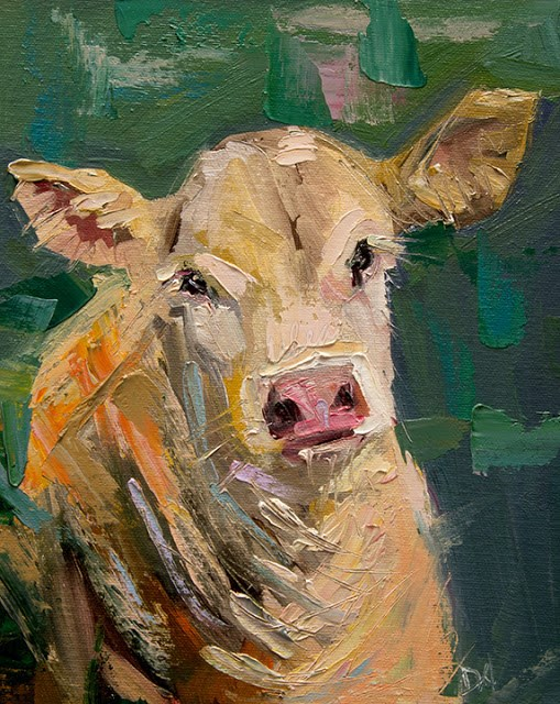 """Artoutwest Cow Bovine Farm Animal Original Contemporary Oil Painting by Western and Wildlife Artist"" original fine art by Diane Whitehead"