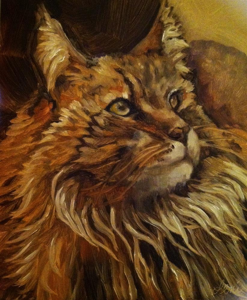 """Coon Cat"" original fine art by Leni Tarleton"
