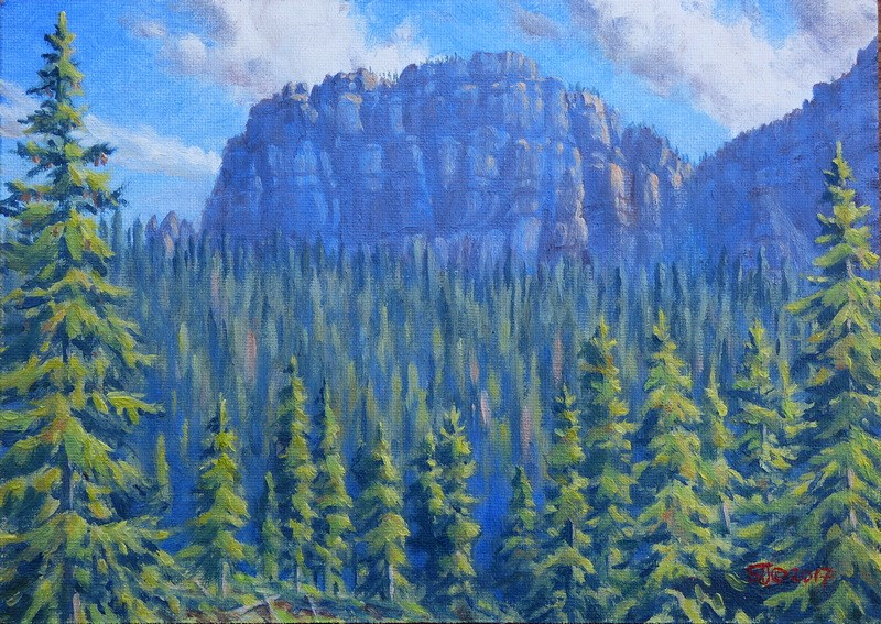 """C1636 ""Morning at Pinnacle Buttes"" (Brooks Lake, Absaroka Range, Wyoming)"" original fine art by Steven Thor Johanneson"