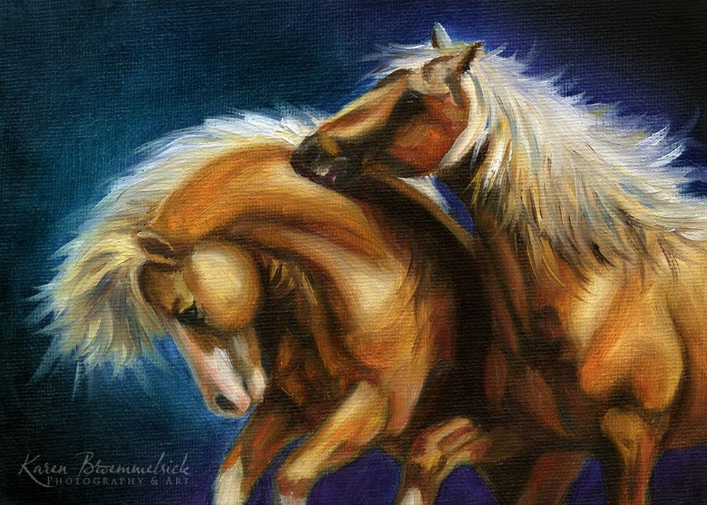"""Playing Ponies"" original fine art by Karen Broemmelsick"