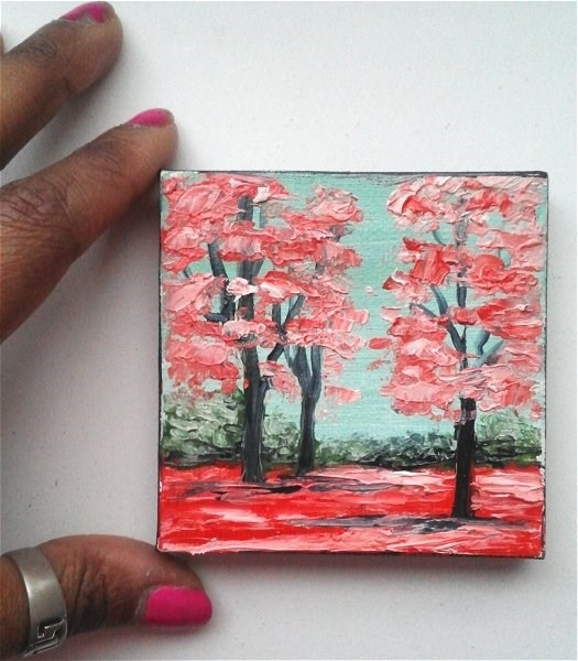 """""""Red Fall Trees"""" original fine art by Camille Morgan"""