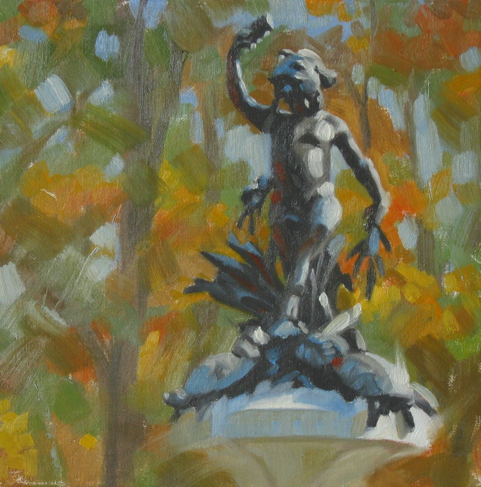 """Statue of Pan 8x8 oil"" original fine art by Claudia Hammer"