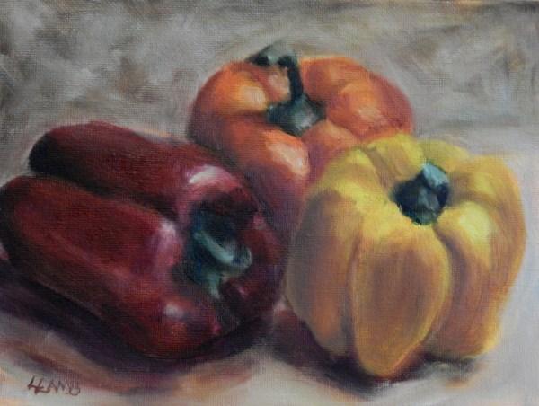 """""""Three Peppers"""" original fine art by Lori L. Lamb"""