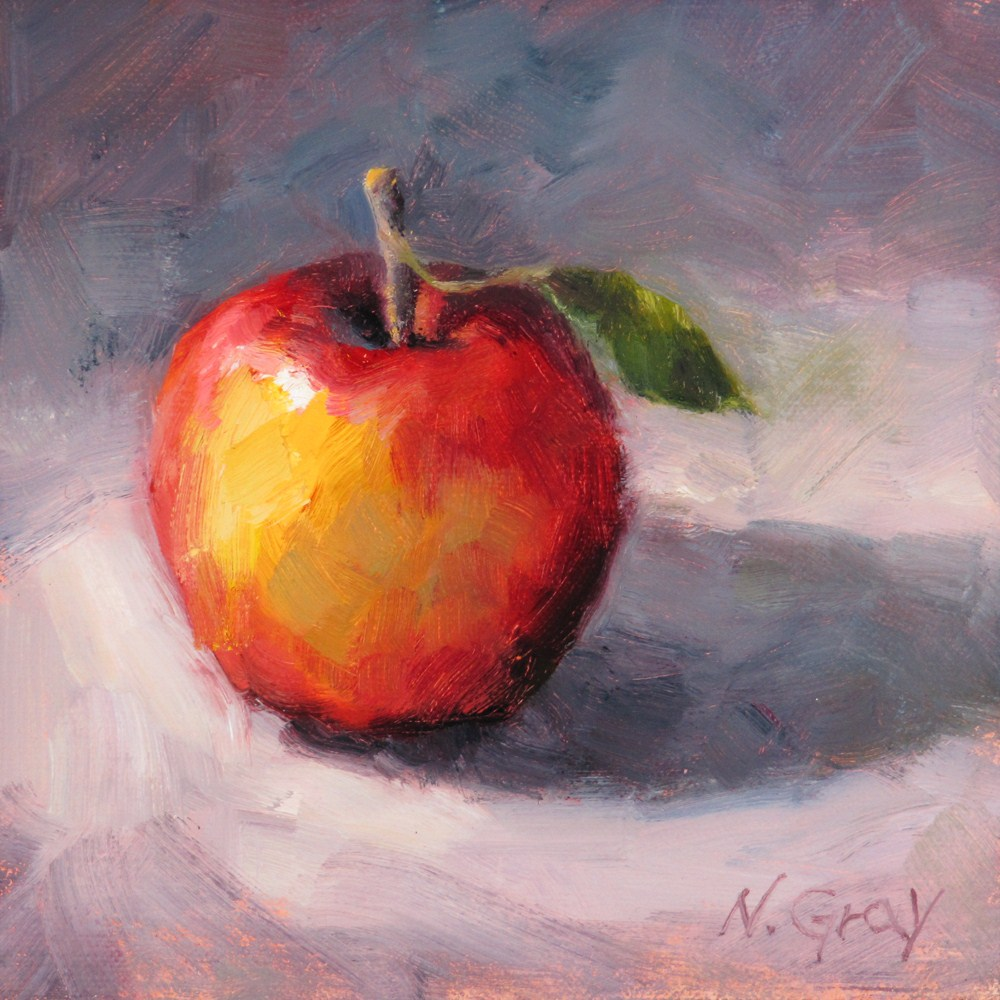 """Red Apple with a Leaf"" original fine art by Naomi Gray"