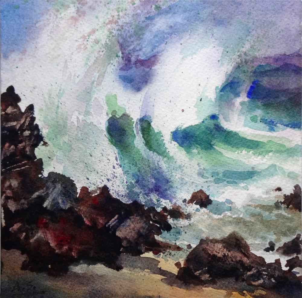 """""""Raging Surf"""" original fine art by Arena Shawn"""