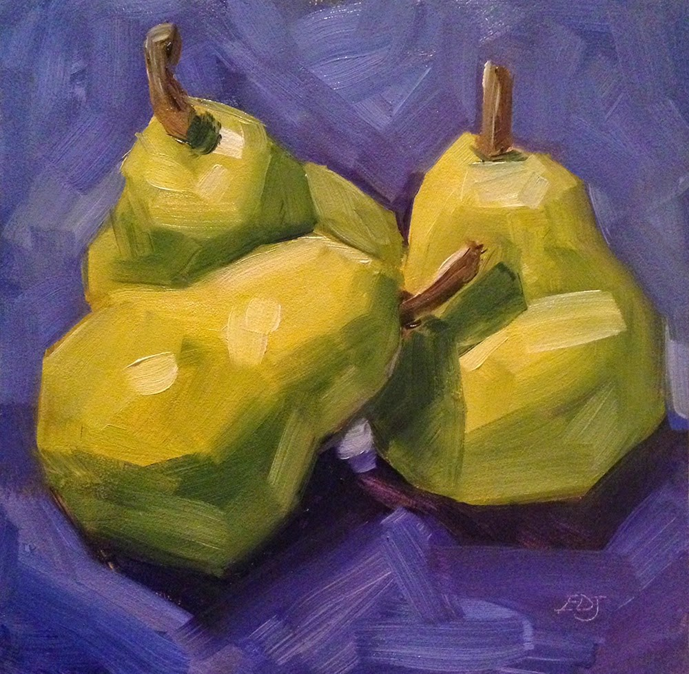"""Three Pears"" original fine art by Elizabeth Dawn Johnston"