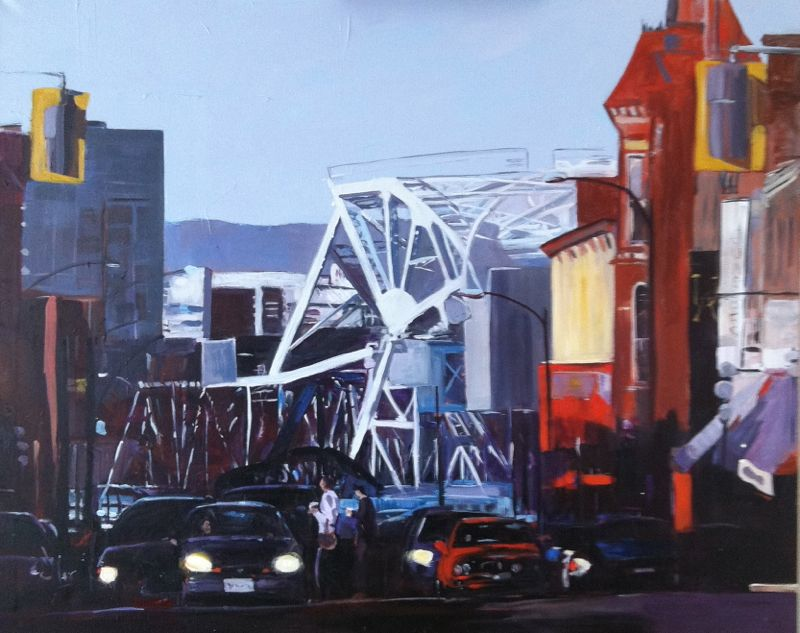 """""""Blue Bridge Crossing, Acrylic on canvas, 80x100 cm"""" original fine art by Darlene Young"""