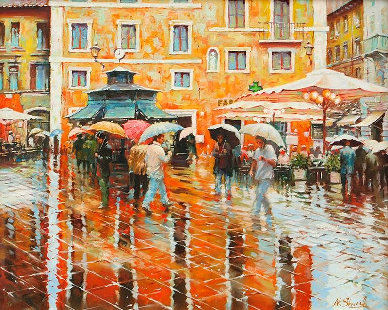 """Walking in the rain - Rome , oil painting"" original fine art by Nick Sarazan"