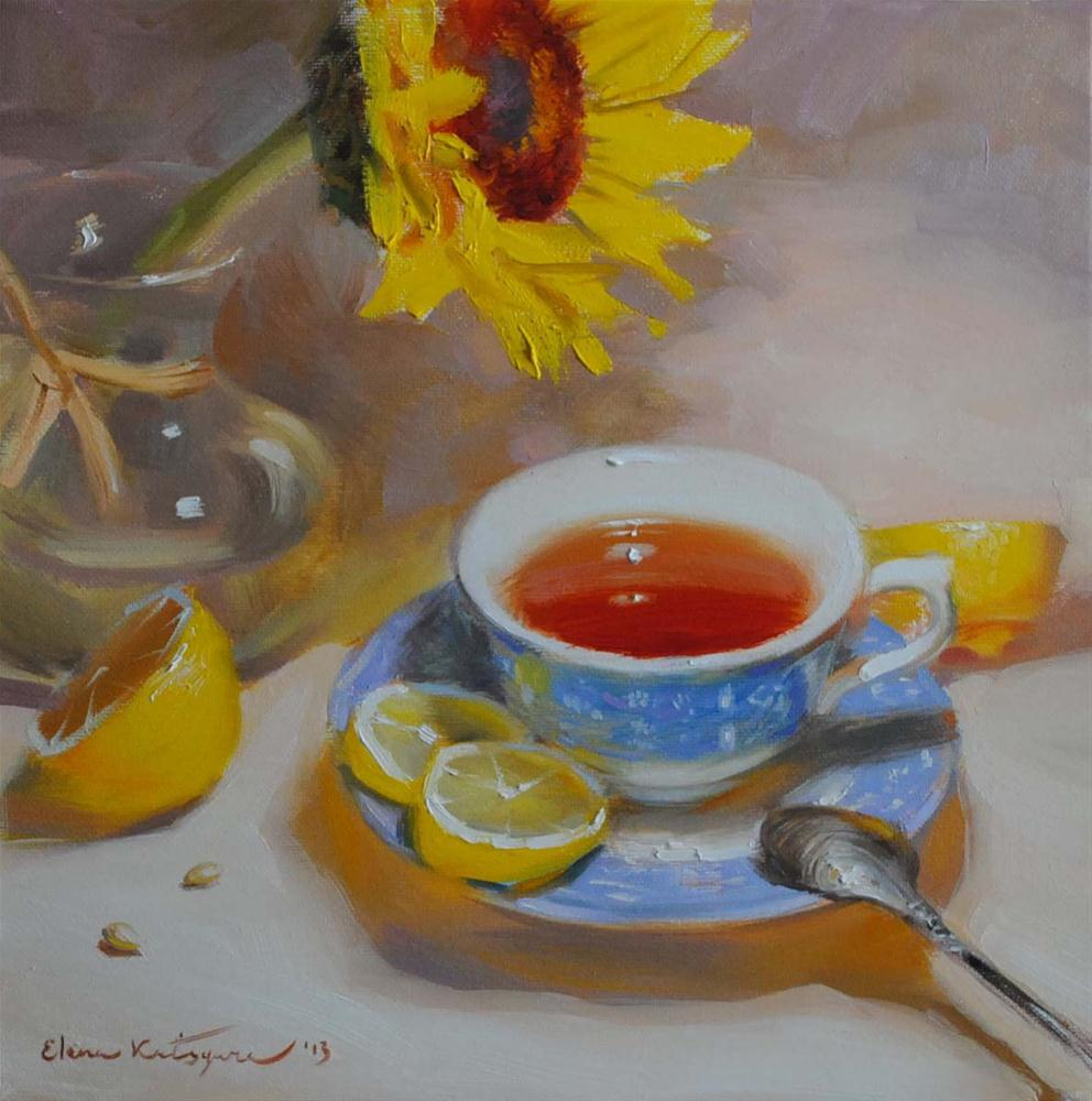"""Tea and Lemons"" original fine art by Elena Katsyura"