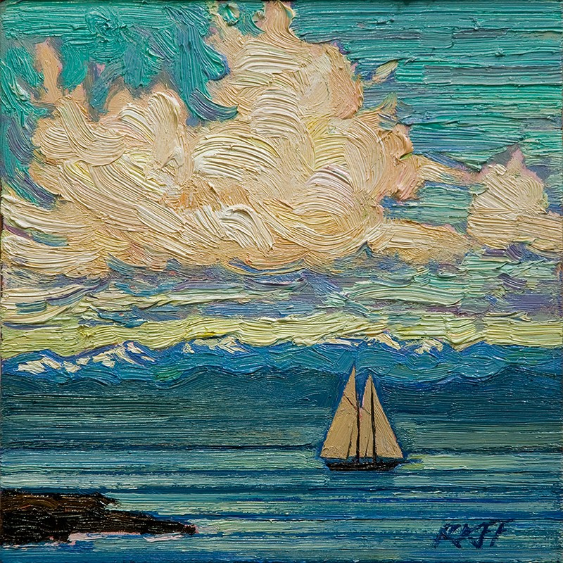 """Sunny Sail: 6x6 oil on panel"" original fine art by Ken Faulks"