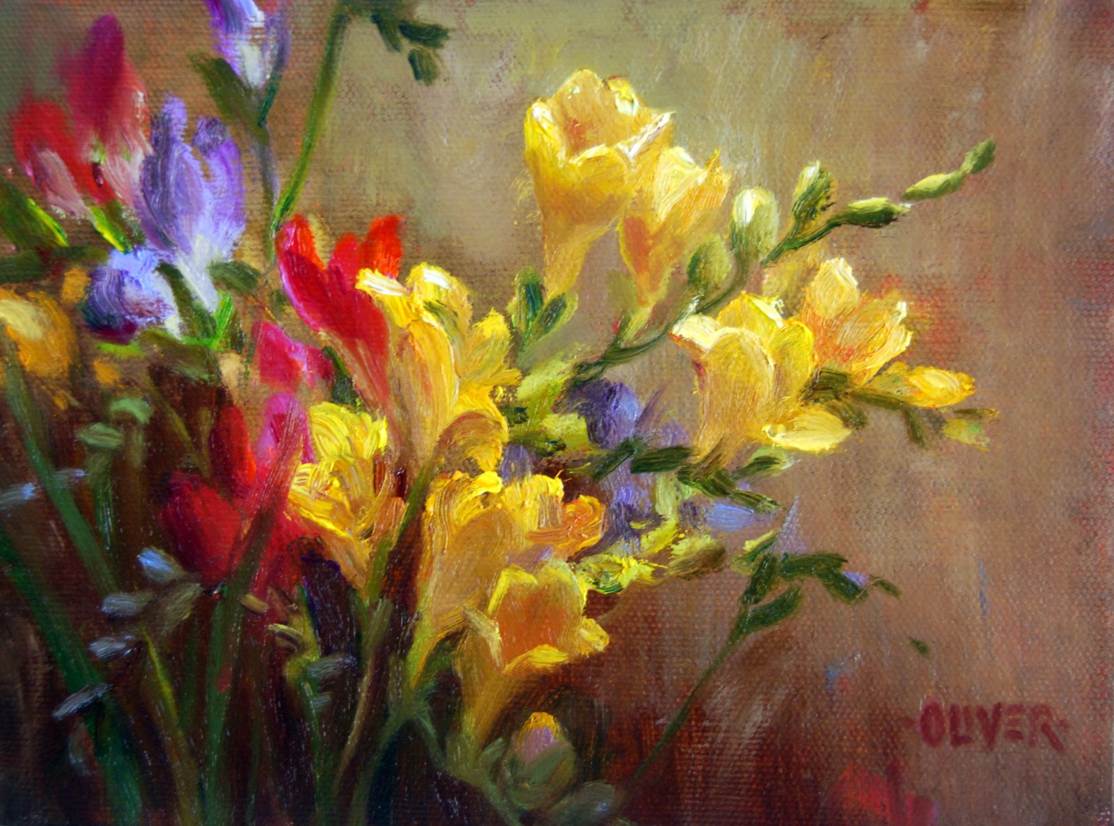 """""""Freesia Study"""" original fine art by Julie Ford Oliver"""