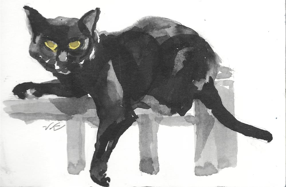 """Daily Cat 53"" original fine art by Jean Krueger"
