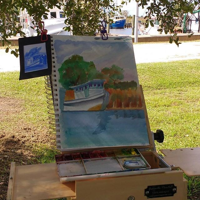 """Apalachicola Fishing Boat"" original fine art by Maria Peagler"