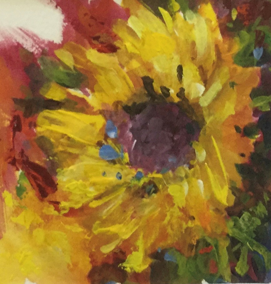"""""""Sunflower small art acrylic floral painting"""" original fine art by Alice Harpel"""