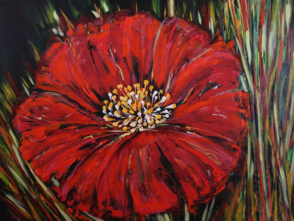 """""""Just one Red from whole field"""" original fine art by Khrystyna Kozyuk"""