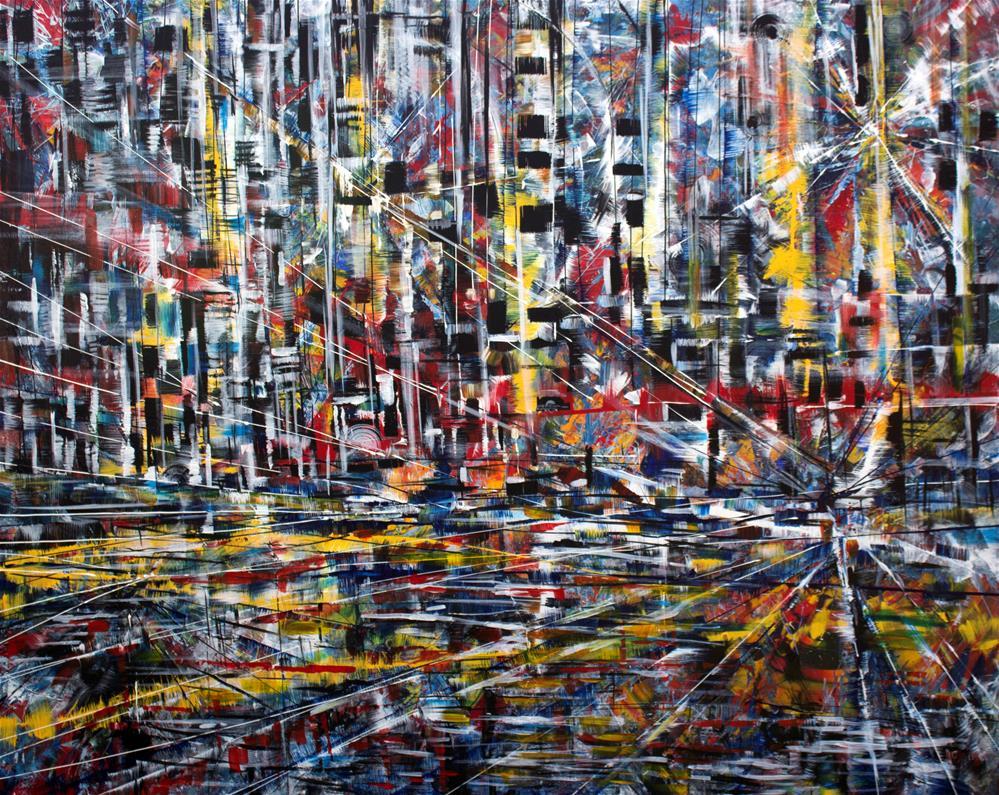 """Night City,original large cityscape painting on canvas"" original fine art by Khrystyna Kozyuk"