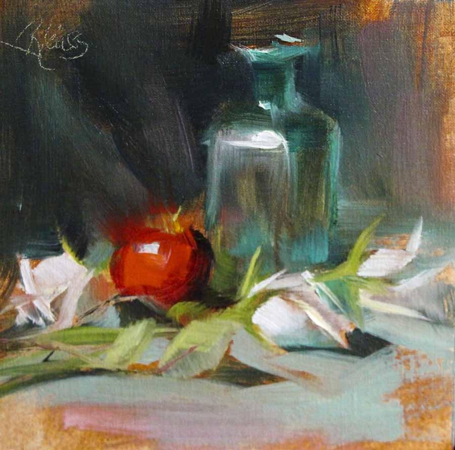 """One Red Apple"" original fine art by Pamela Blaies"
