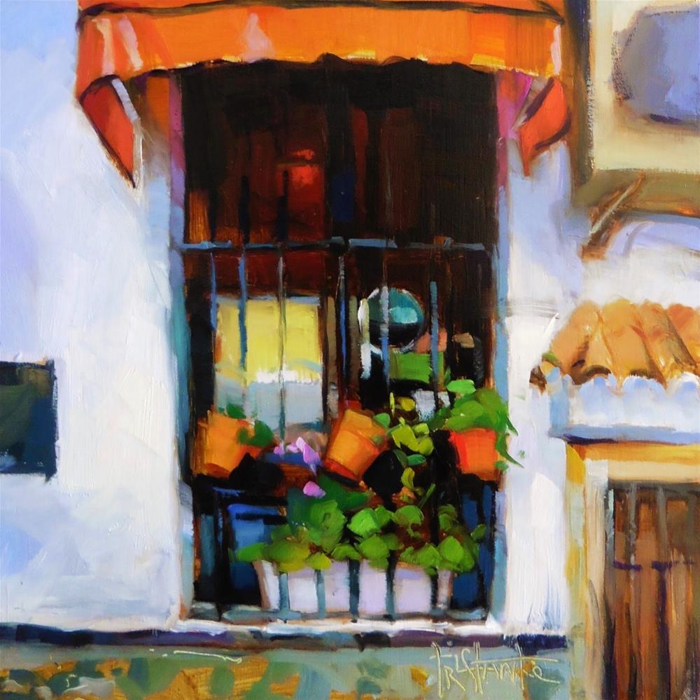 """Window with pots"" original fine art by Víctor Tristante"