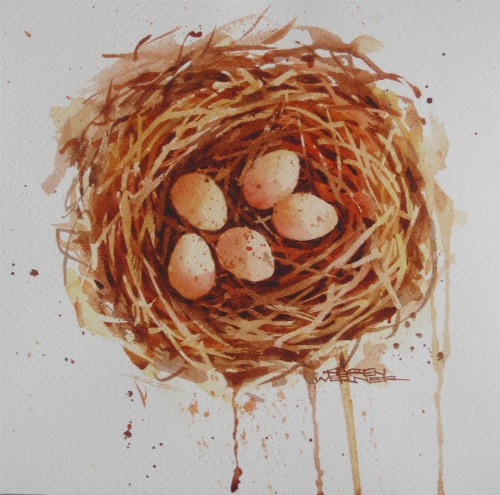 """""""Five In The Nest"""" original fine art by Karen Werner"""