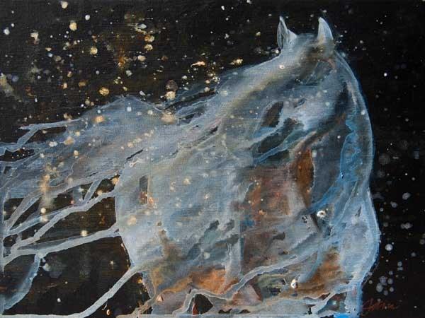 """""""Celestial Stallion - (framed)"""" original fine art by Jani Freimann"""
