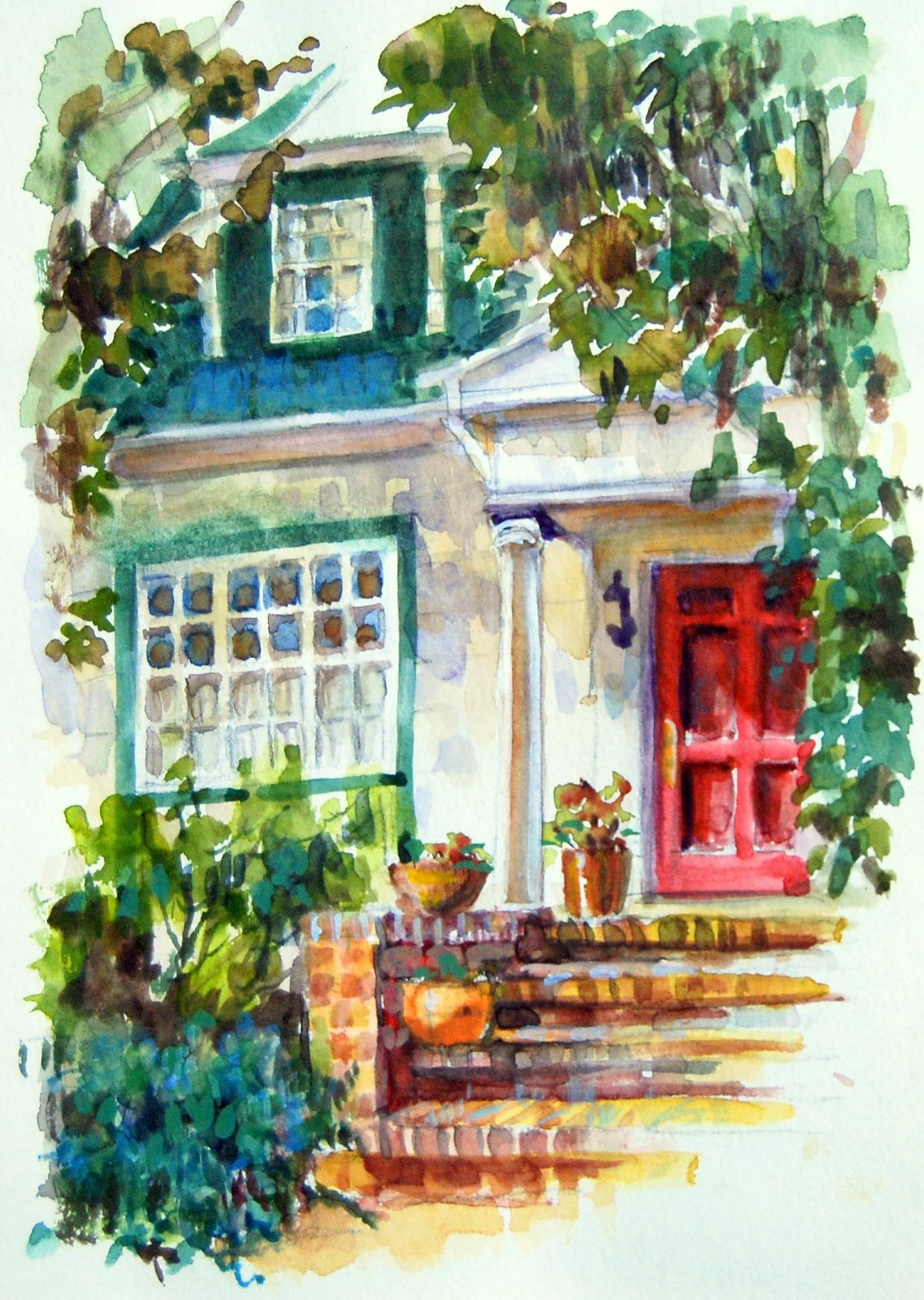 """""""Watercolor Sketch of a Friends House in Berkeley, CA."""" original fine art by Julie Ford Oliver"""