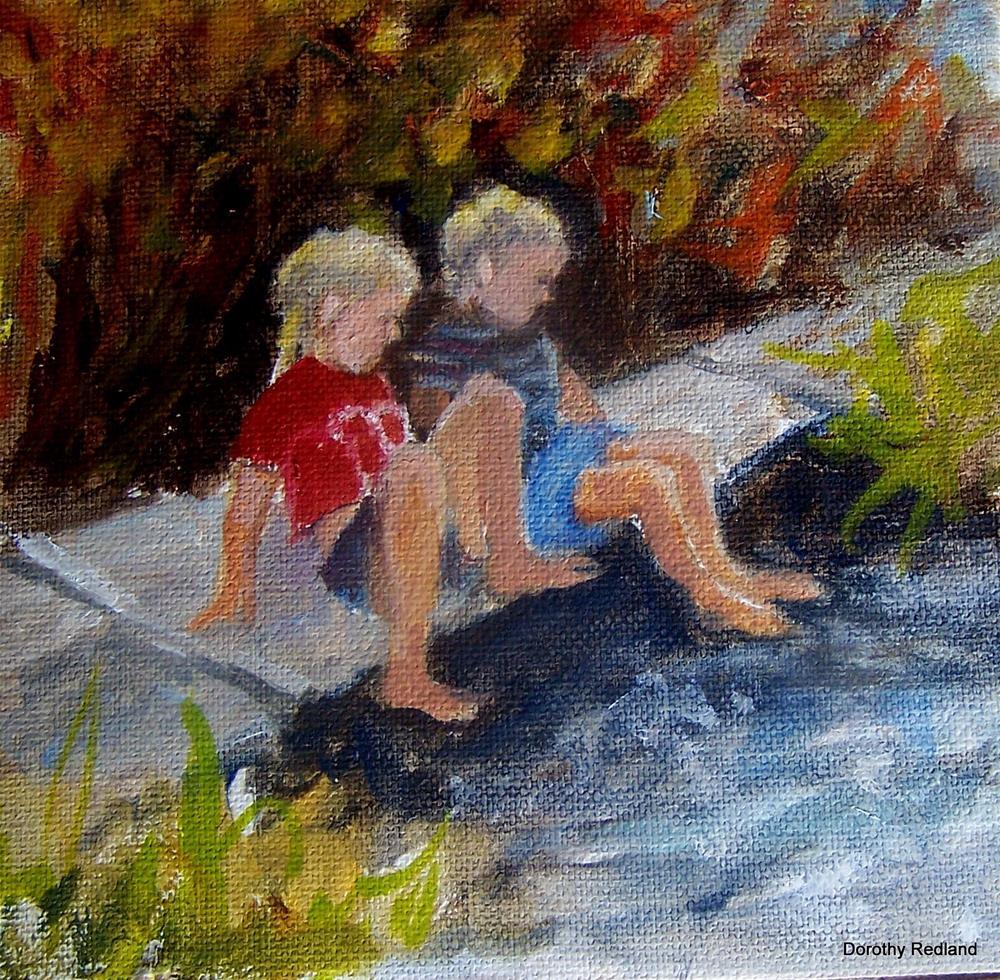 """Happy times on Crooks creek"" original fine art by Dorothy Redland"