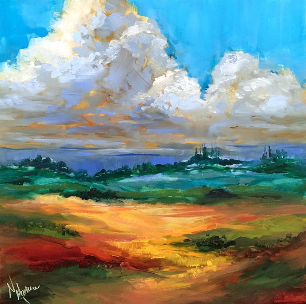 """""""French Cloudscape and How to Make Cool Yellows"""" original fine art by Nancy Medina"""