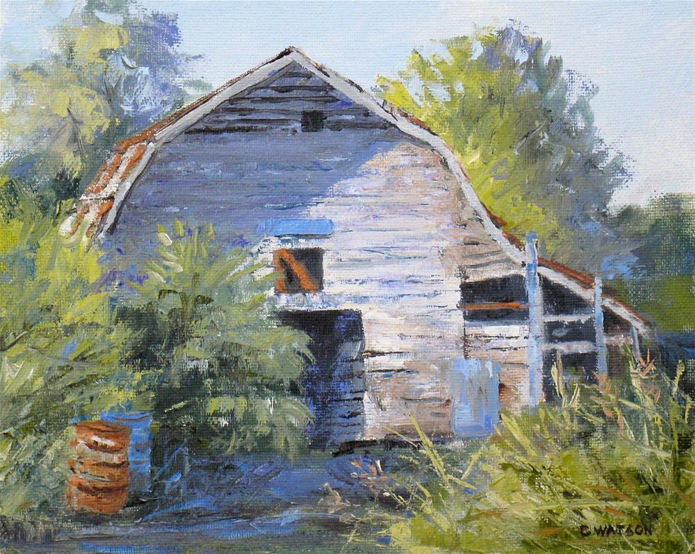 """""""Barn Shadows"""" original fine art by carolyn watson"""