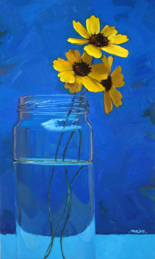 """3 Yellow Wildflowers"" original fine art by Carol Marine"
