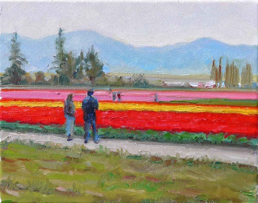 """Tulip Valley,landscape,oil on canvas,8x10,price$400"" original fine art by Joy Olney"