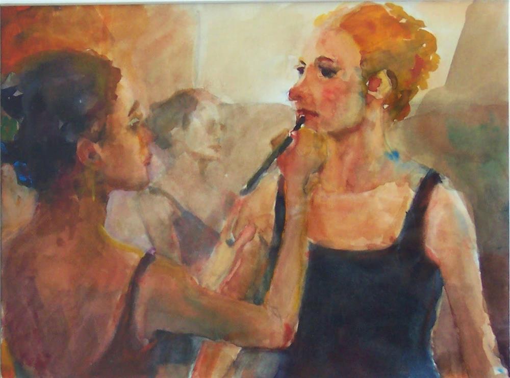"""Back Stage,figure,watercolor,7x9,price$175"" original fine art by Joy Olney"
