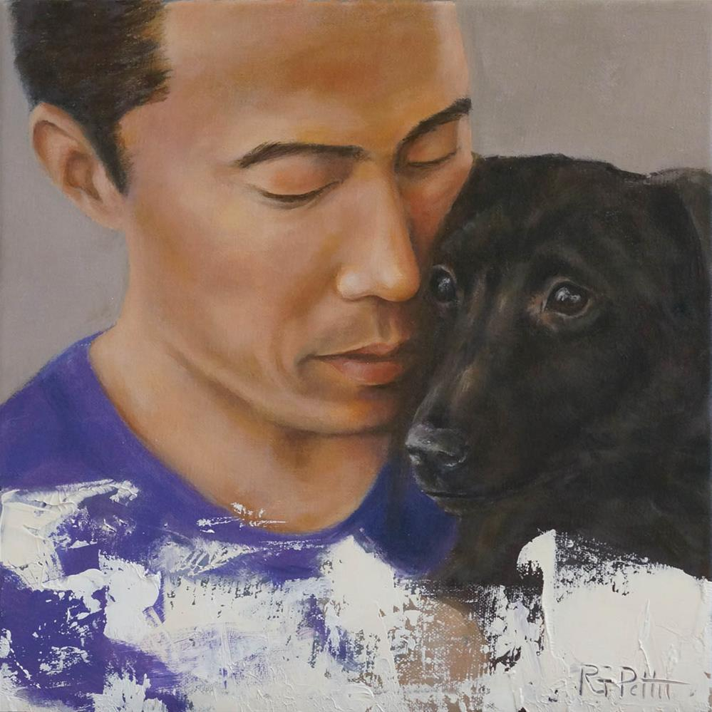 """Marc Ching and Rescued Dog"" original fine art by Rhea  Groepper Pettit"