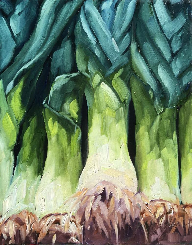 """""""Leeks"""" original fine art by Hallie Kohn"""