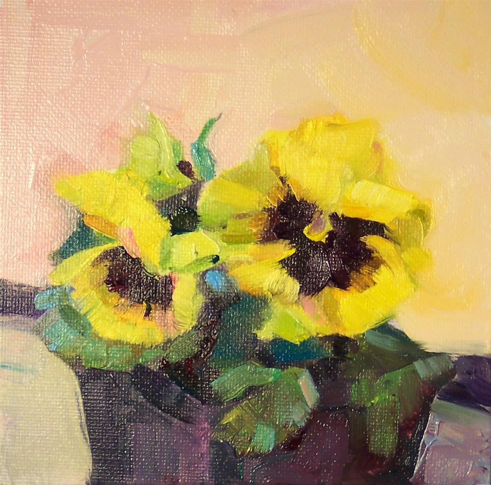 """Bright Yellow Potted Pansy,still life,oil on canvas,6x6,price$200"" original fine art by Joy Olney"