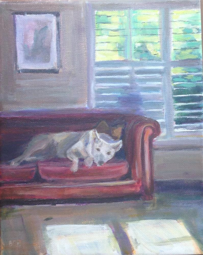 """""""Cody on the Couch"""" original fine art by Beth Carrington Brown"""