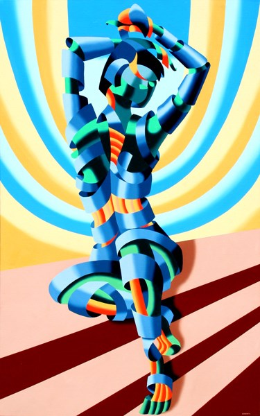 """Mark Webster - Mandy on the Staircase - Abstract Geometric Figurative Painting"" original fine art by Mark Webster"
