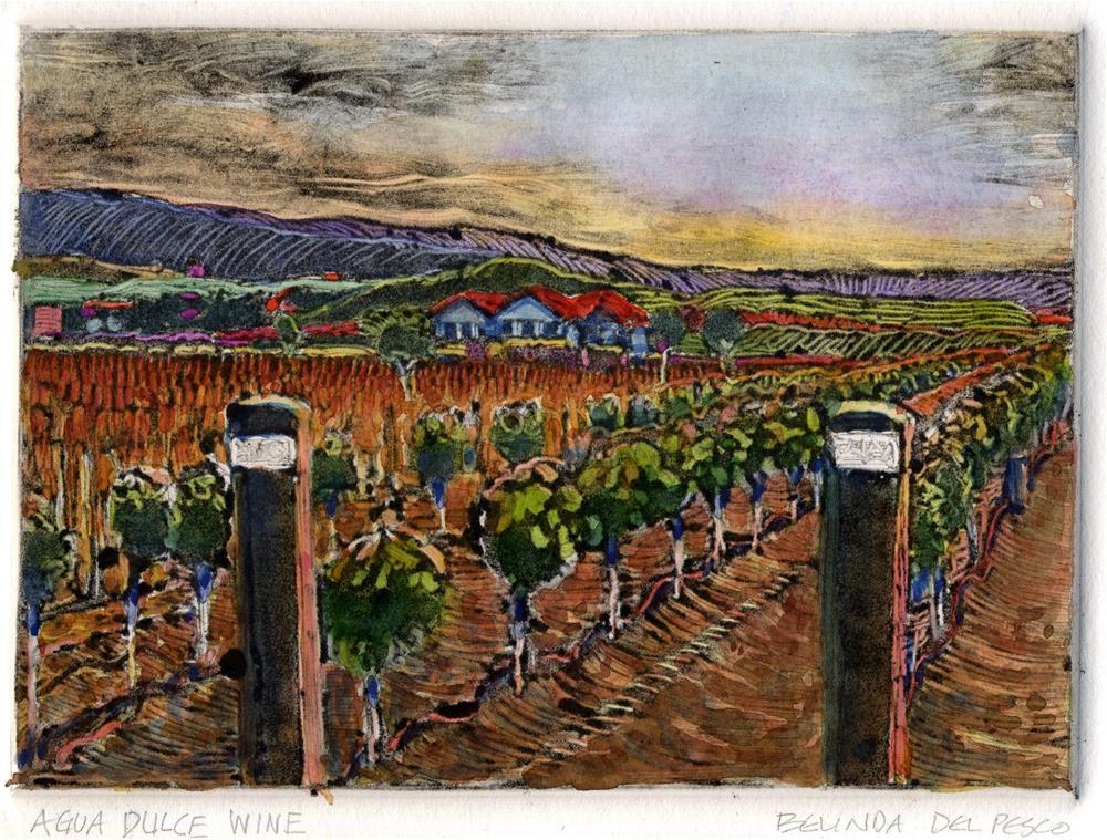 """Monotype: Agua Dulce Wine"" original fine art by Belinda Del Pesco"