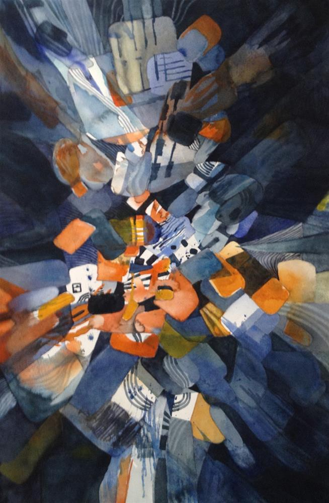 """""""Blast in Orange and Blue"""" original fine art by Julie Crouch"""