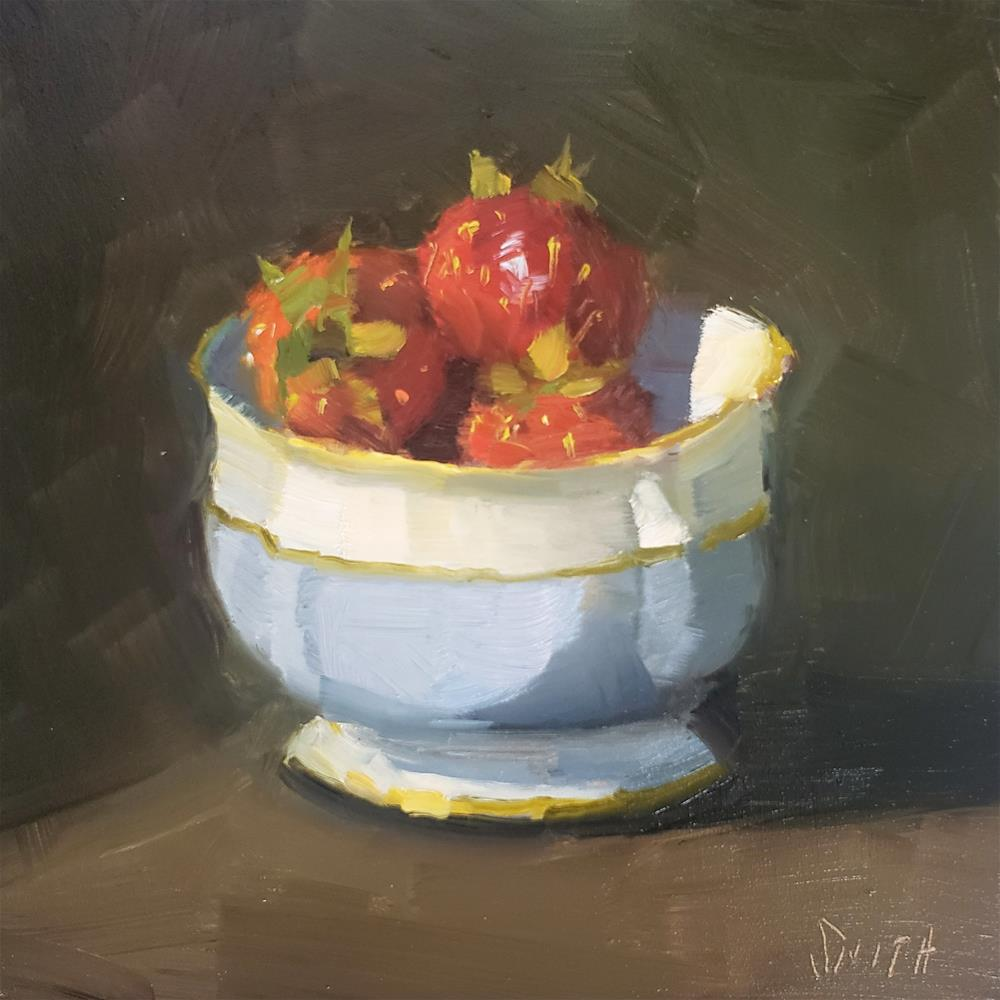 """Strawberries in Blue and White Bowl"" original fine art by Barbie Smith"