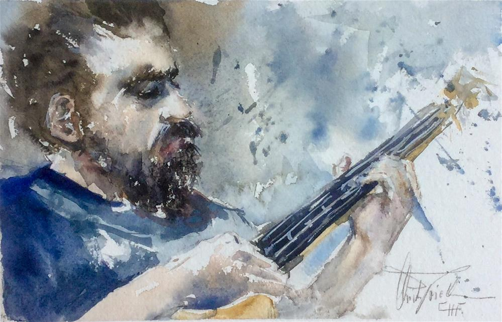 """Playing the guitar"" original fine art by Christa Friedl"
