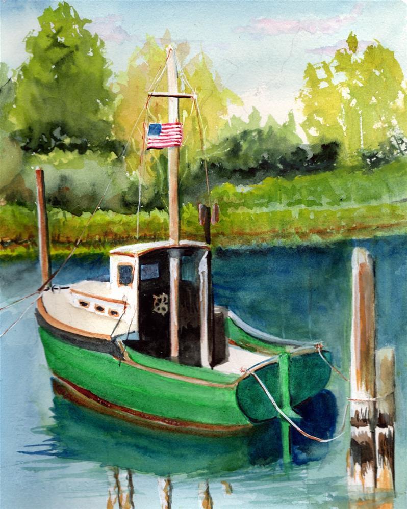 """ Green Boat in Harbor"" original fine art by Bunny Griffeth"
