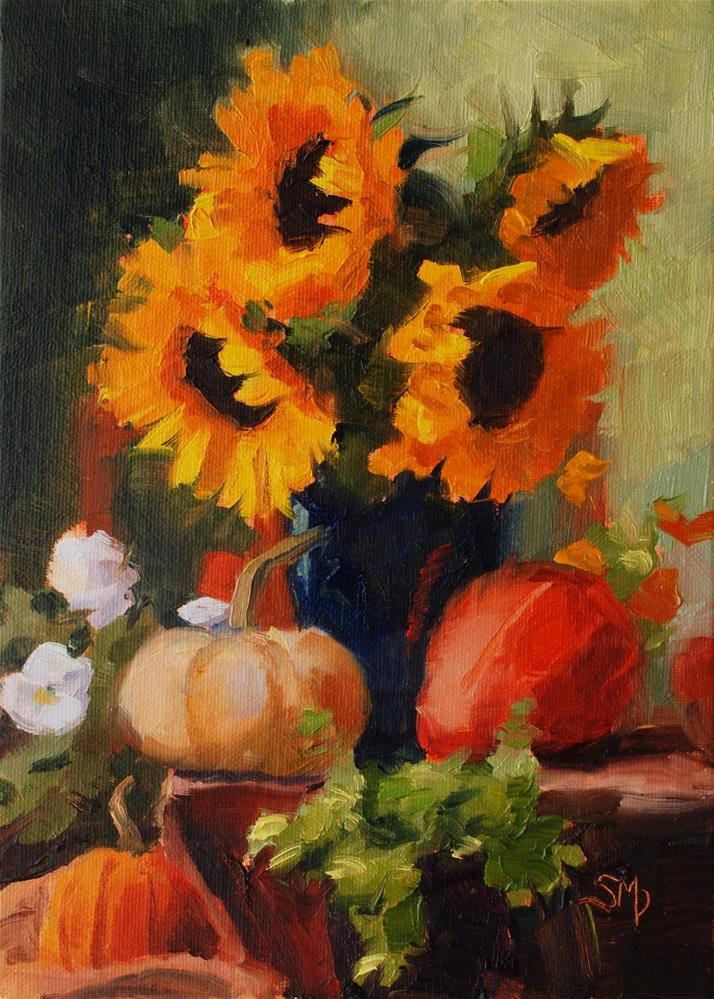 """""""No. 511 Sunflowers and Pansies and Pumpkins, Oh My"""" original fine art by Susan McManamen"""