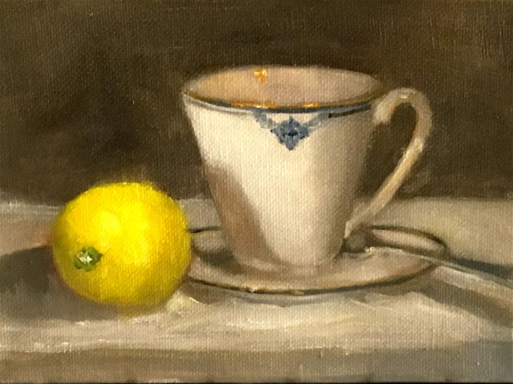 """cup of tea with lemon"" original fine art by Betty Argiros"