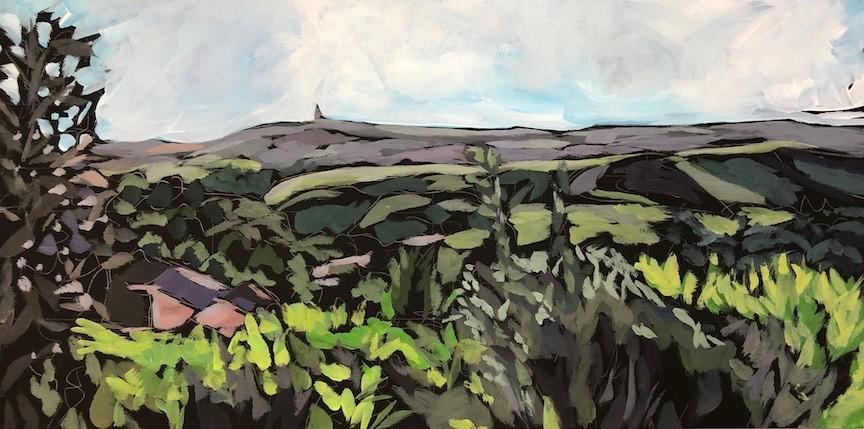 """Stoodley Pike, Todmorden View, Yorkshire"" original fine art by Kat Corrigan"