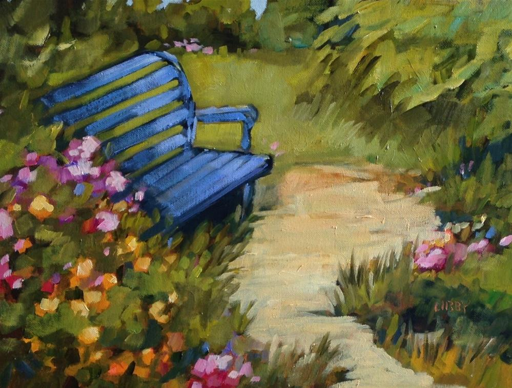 """""""Blue Bench"""" original fine art by Libby Anderson"""