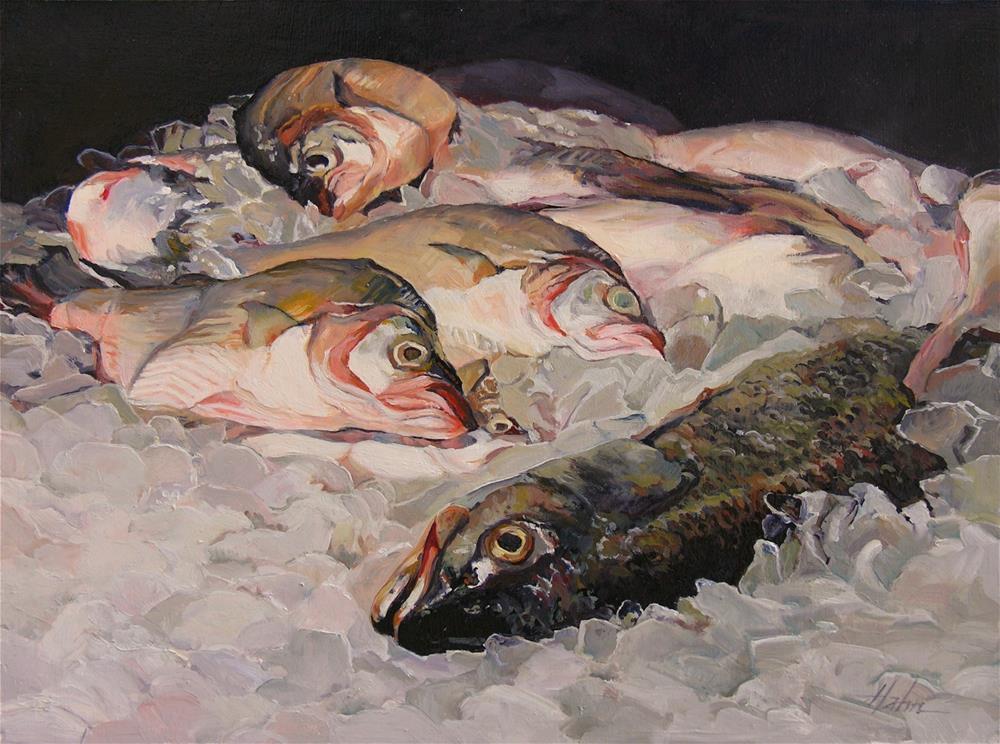 """Fish on Ice"" original fine art by Elaine Hahn"