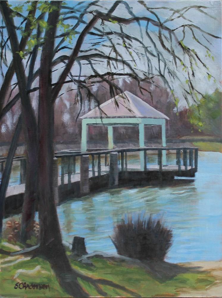 """Wells Branch Pond"" original fine art by Susan Andersen"